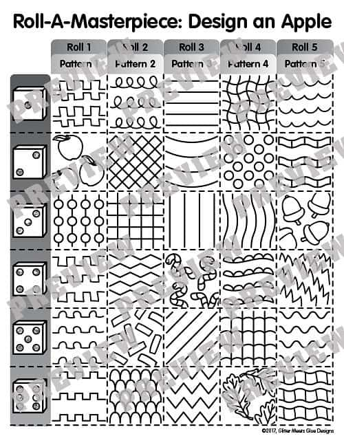 roll-a-dice art game to design an apple