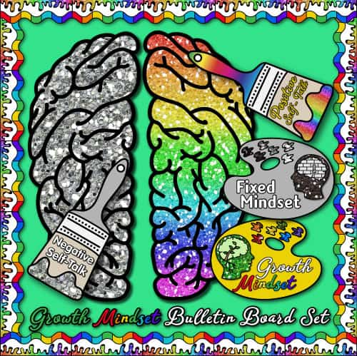 glitter brain for growth mindset poster for the art room
