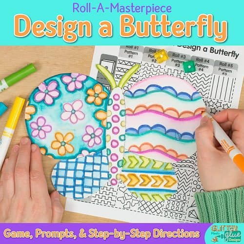 design a butterfly drawing art project using a fun marker painting technique