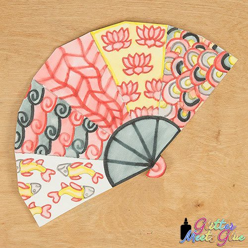 red and black chinese paper fan art project for kids