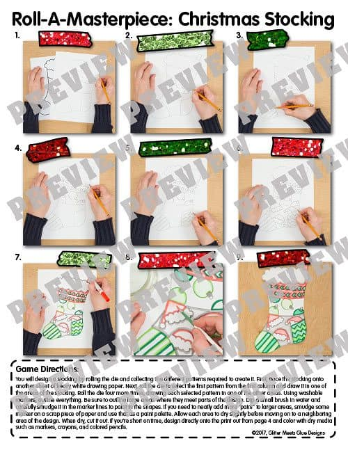 directed drawing for how to design a christmas stocking