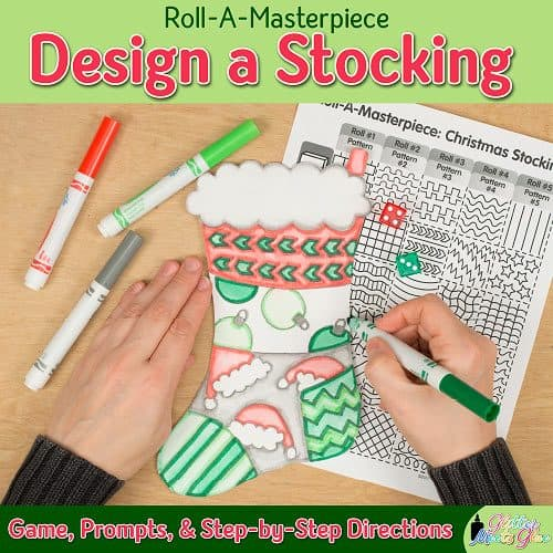 design a christmas stocking art project using a fun roll-a-dice game