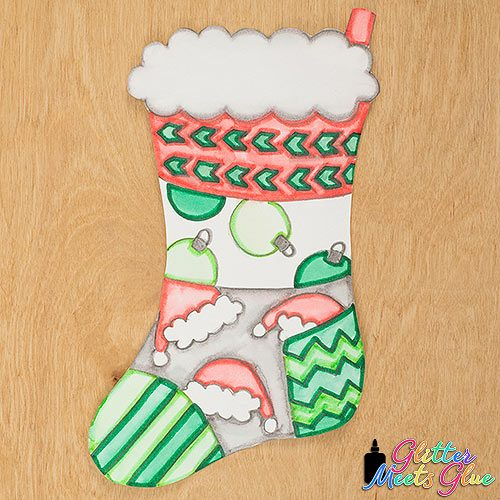 red and green christmas stocking art lesson