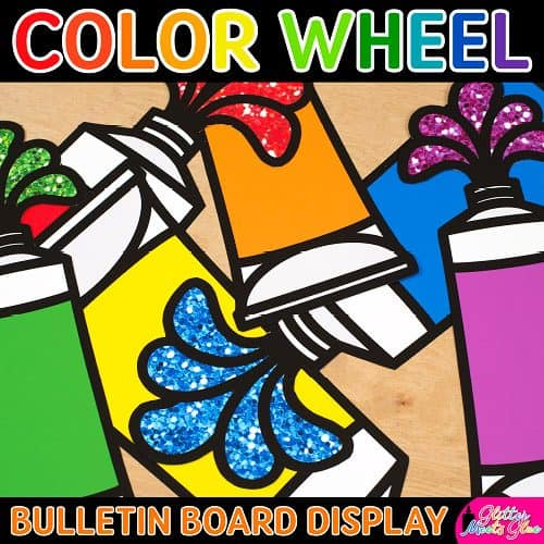 glitter paint tube color wheel printables for art class