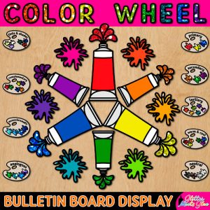color wheel art bulletin board pack with rainbow tubes and paint splashes