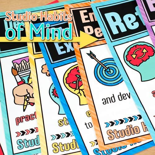 close up of 8 studio habits of mind posters for the art room