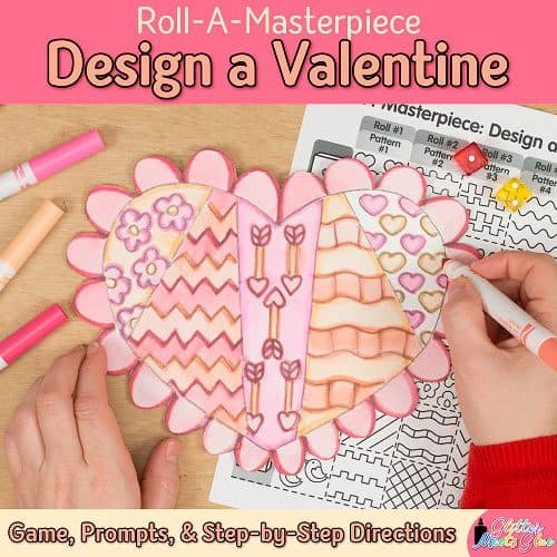valentines day heart game to design with marker painting