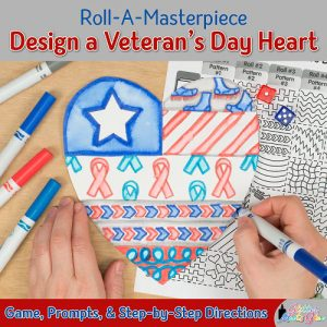 roll and draw game to design a veterans day heart to honor fallen heroes