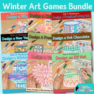 winter activities game bundle for art teachers and classroom teachers