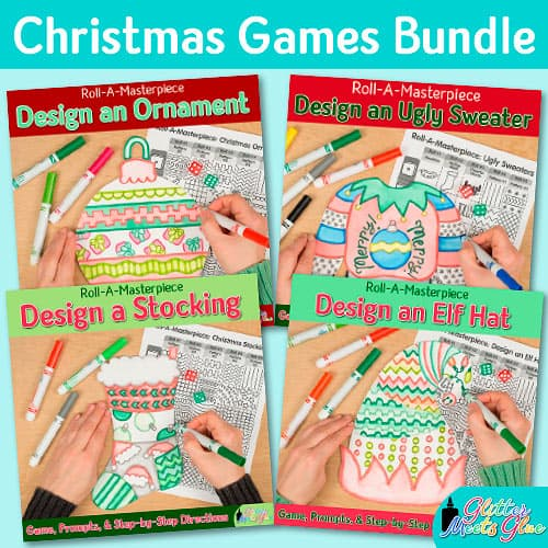 christmas activities bundle of art projects to make an elf hat, ornament, ugly sweater, and stocking