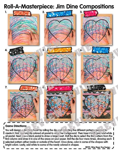 directed drawing to create an oil pastel drawing of a heart