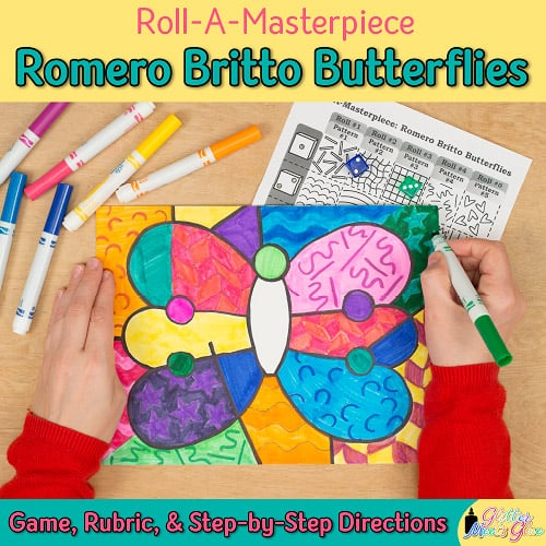 art lesson to recreate a romero britto butterfly drawing using oil pastels