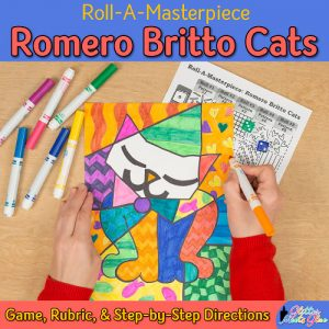 art lesson to recreate a romero britto cats drawing using oil pastels