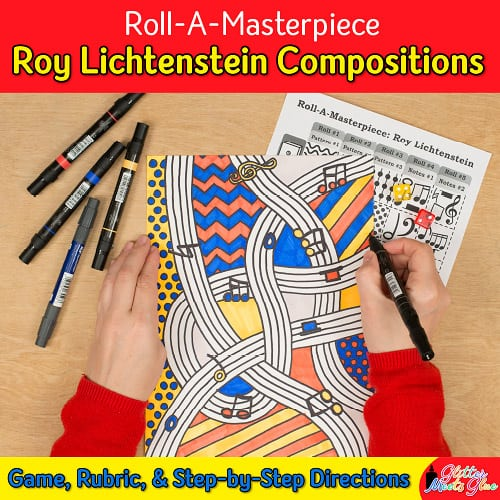 create a roy lichtenstein art project inspired by music using a fun roll-a-dice game