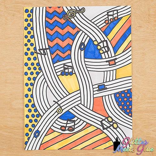 pop art musical composition artwork using primary colors and patterns