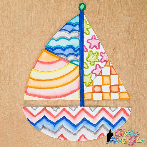 cute sailboat drawing art project for elementary art students
