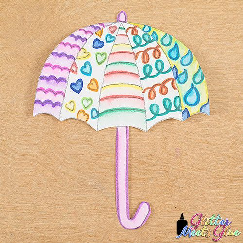 cute spring umbrella art lesson using a fun marker painting technique