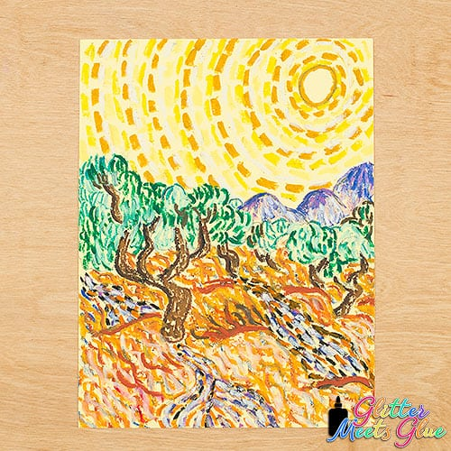 vincent van gogh olive trees art project for kids
