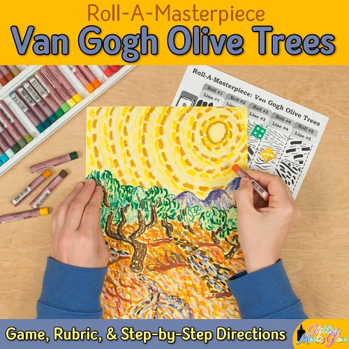 an art lesson to design a van gogh olive trees drawing using oil pastels