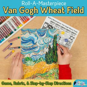 art lesson to recreate a van gogh wheatfield drawing using oil pastels