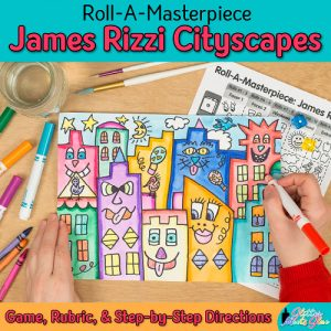 james rizzi cityscape art game for elementary art students and teachers