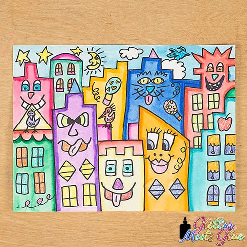 james rizzi buildings art project for kids