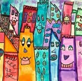students created james rizzi cityscapes art projects by 3rd grade