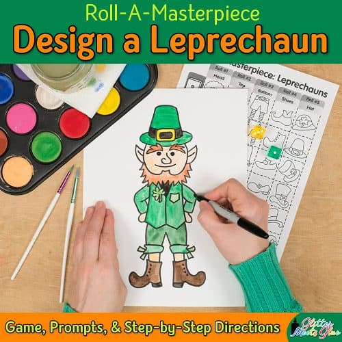 design a lucky leprechaun drawing using a a fun roll a dice game
