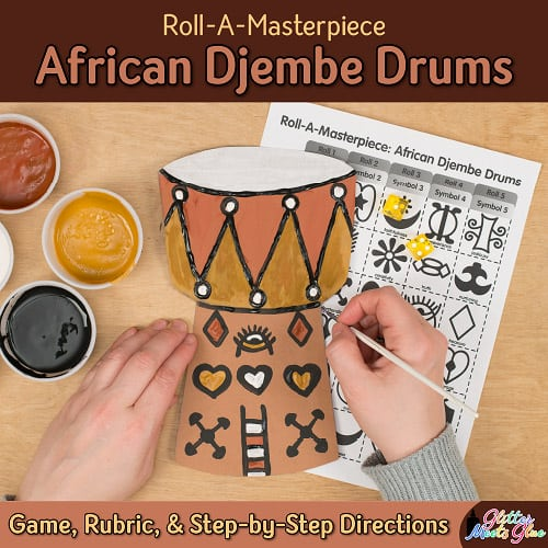 design an african djembe drum using adrinkra symbols