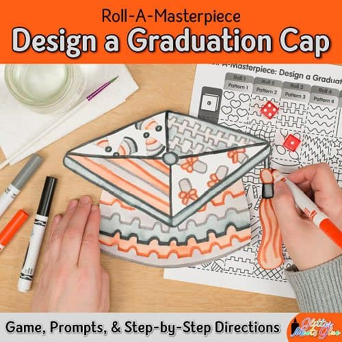 design a graduation cap drawing using a fun marker painting technique