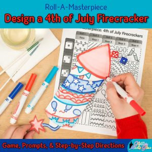 design a 4th of july drawing of a firecracker