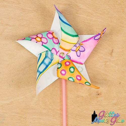 pinwheel craft made w]by painting with markers