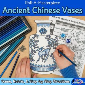 chinese vase art game for middle school students using colored pencil techniques