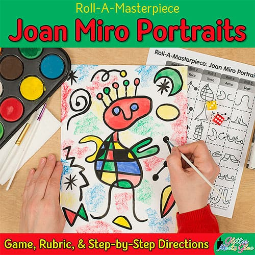 joan miro portrait art lesson for elementary art teachers
