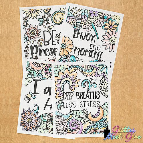 mindfulness for kids coloring pages with quotes like be present and enjoy the moment