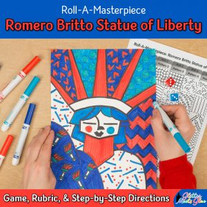 romero britto statue of liberty drawing game for elementary art students