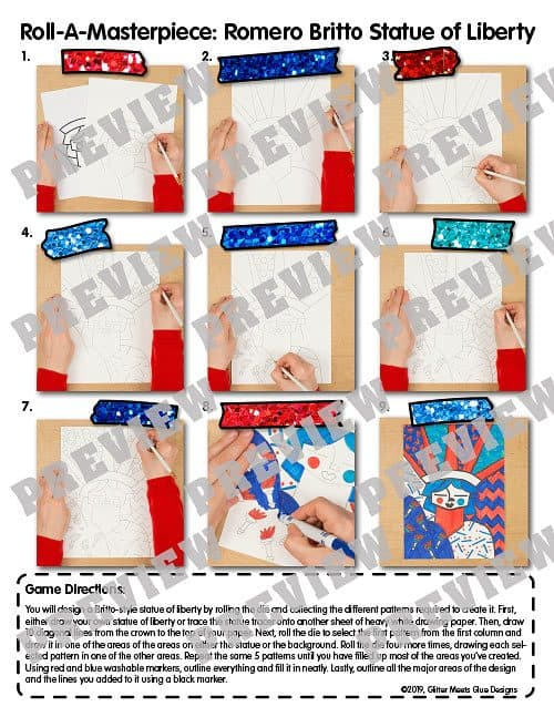 how to draw pop art statue of liberty by romero britto