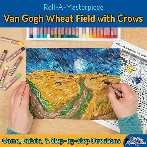 vincent van gogh wheat field with crows inspired art game for kids