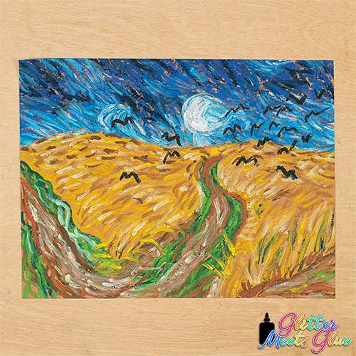 oil pastel drawing of wheat field with crows art lesson