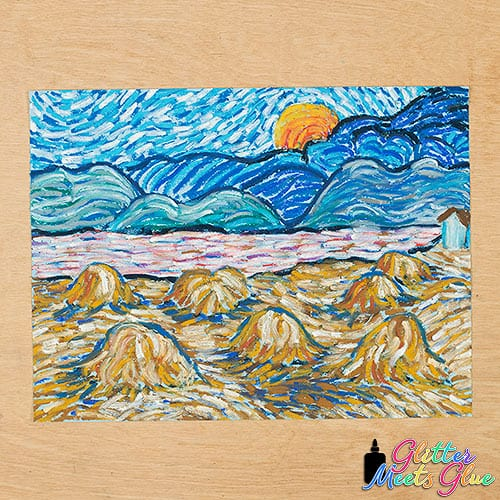 vincent van gogh rising moon art project for middle school students