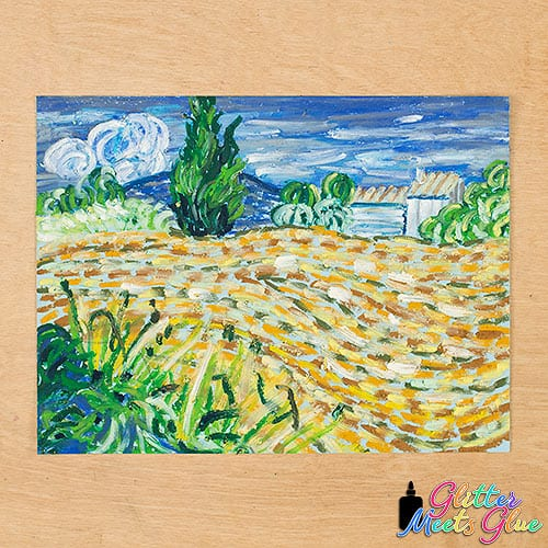 van gogh landscape with green corn drawing in oil pastel