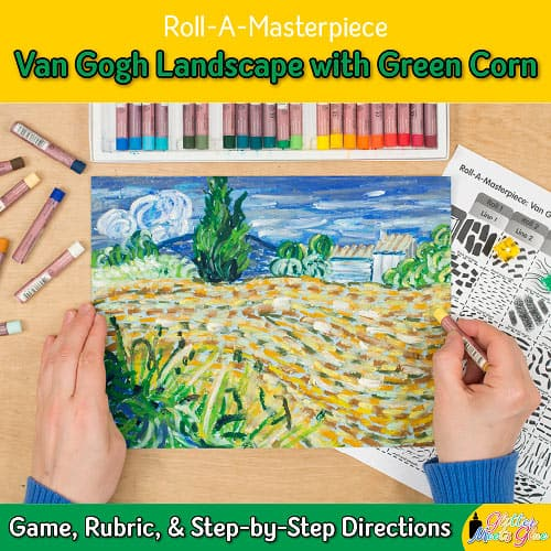 van gogh green corn roll a dice game for middle school students