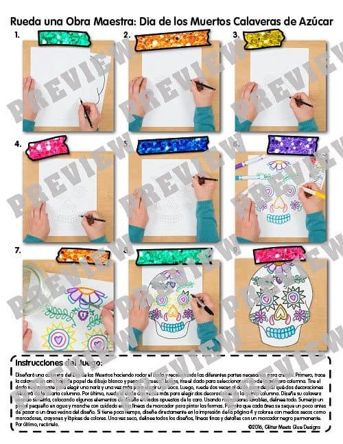 dia de los muertos step by step art lesson plan