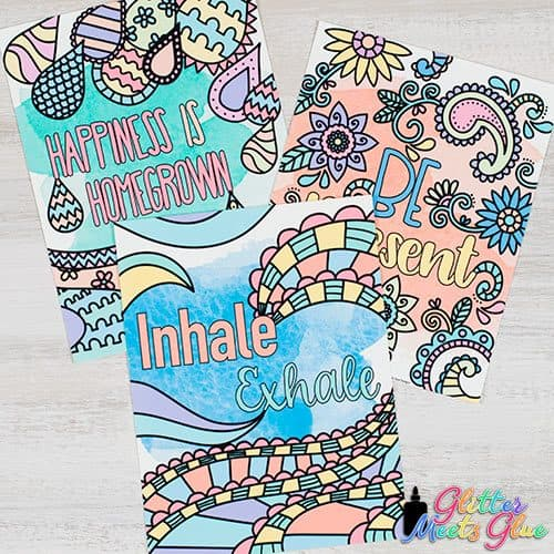 happiness is homegrown, be present, and inhale exhale mindfulness posters for kids
