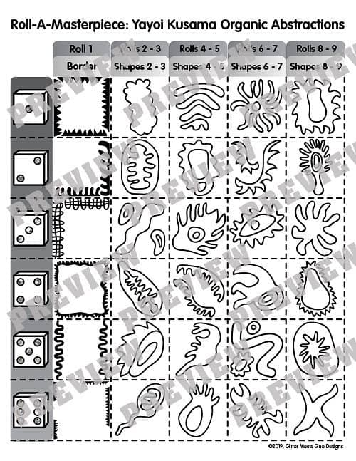 roll and draw game for yayoi kusama art lesson