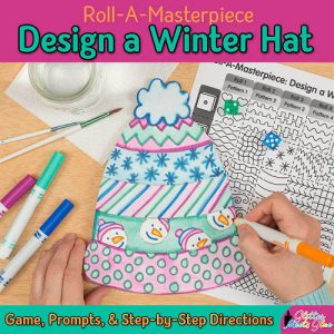winter hat drawing game for elementary students