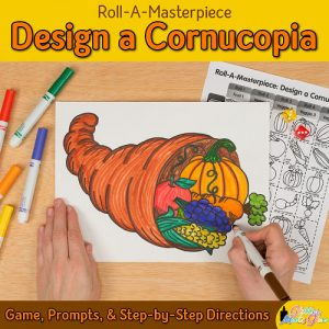 thanksgiving cornucopia drawing art project for kids