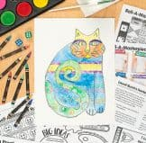 laurel burch cat watercolor and crayon art project