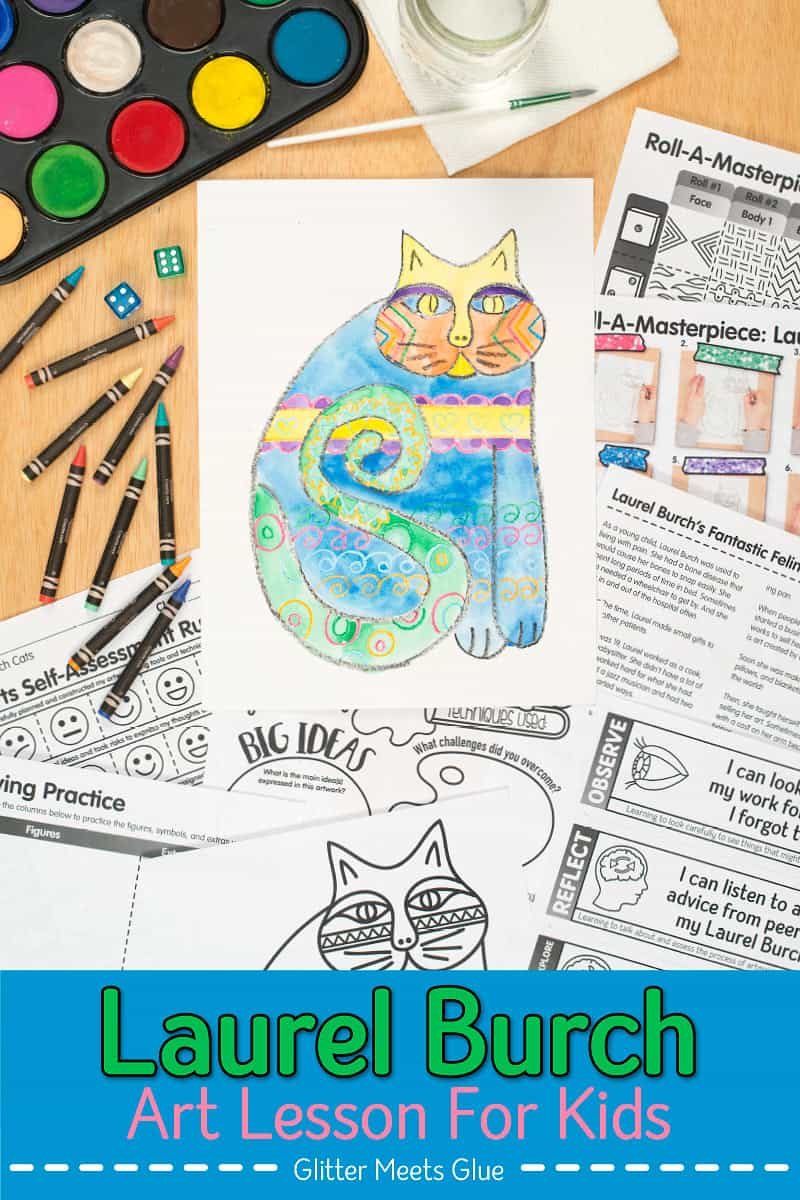 Are your students bored with art history lessons? Why not liven up your lessons with a game?! Create a Laurel Burch cats project with a roll of the dice. Fill up your art sub plan folder with no-prep art projects that are easy to implement. Picture directions, assessment rubric, reflection sheets, a coloring page, and I CAN statements aligned to the Studio Habits of Mind are included.   Glitter Meets Glue #artlessons #laurelburchcats #arthistorylessons #artprojectsforkids #elementaryartforkids