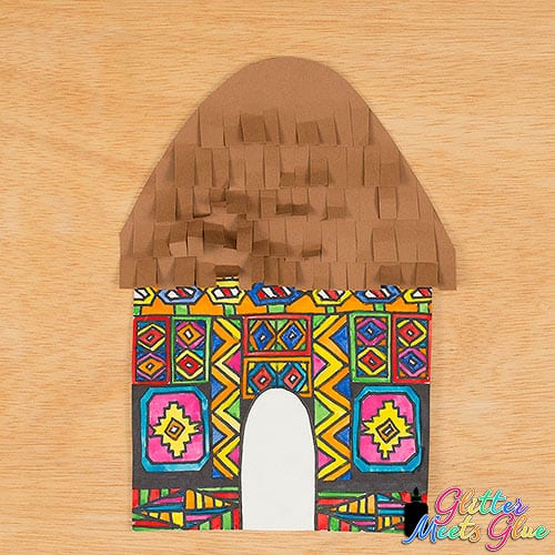 art project for kids to paint an Ndebele house